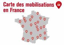Carte des mobilisations en France